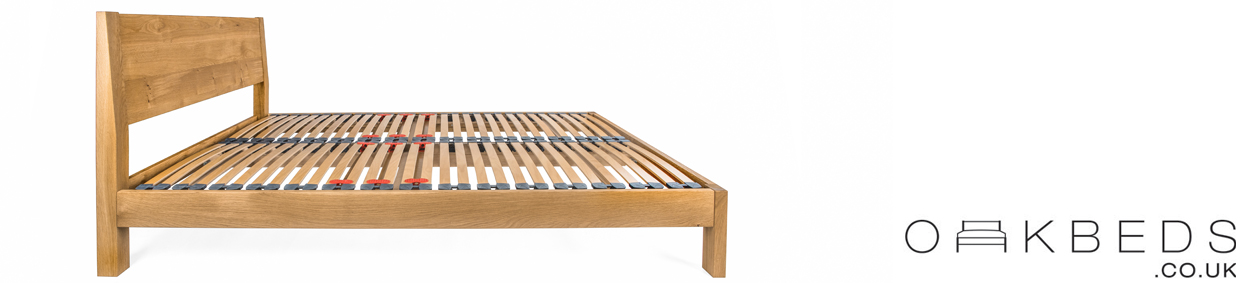 Hamsterley Solid Oak Bed Frame with integrated Angled Headboard
